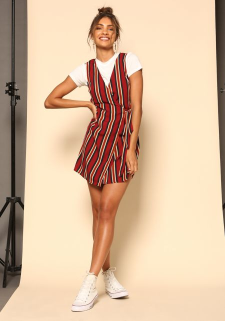 Burgundy Stripe Waist Tie Wrap Dress