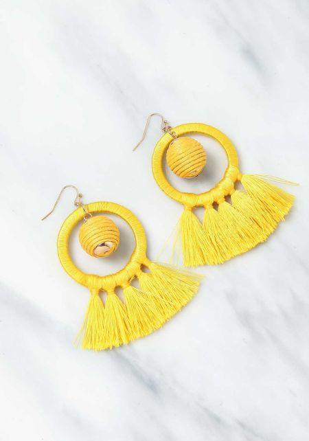 Yellow Short Tassel Earrings