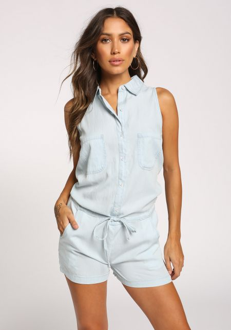 Light Denim Drawstring Button Down Romper