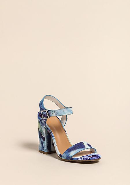 Blue Floral Ankle Strap Heels