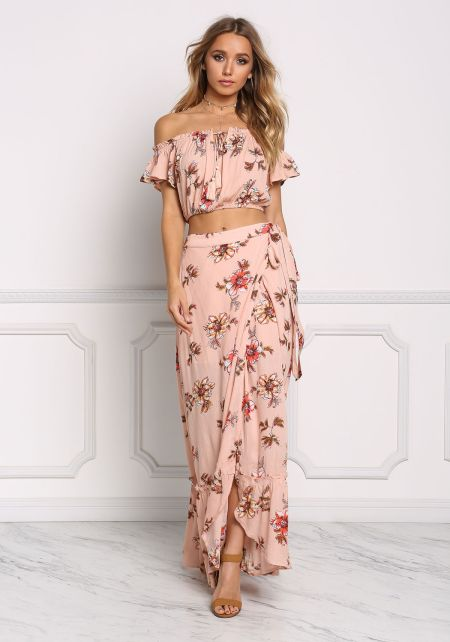 Dusty Pink Floral Crepe Wrap Maxi Skirt