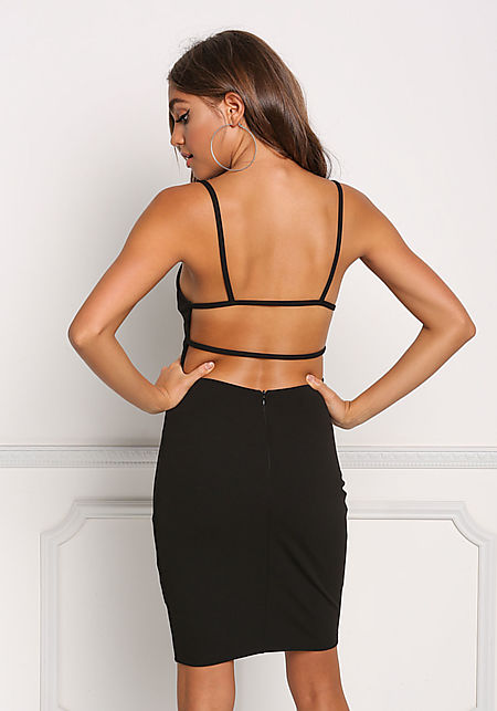 Black Strappy Open Back Bodycon Dress