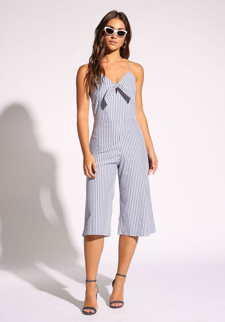 White and Navy Bow Front Cropped Culottes Jumpsuit