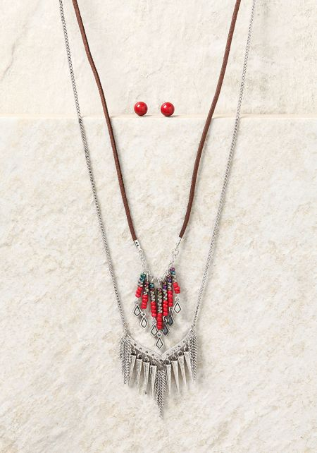Silver Chain & Suedette Spike Pendant Necklace