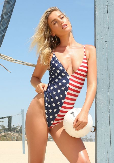Blue and Red Stars & Stripes Plunge Bodysuit