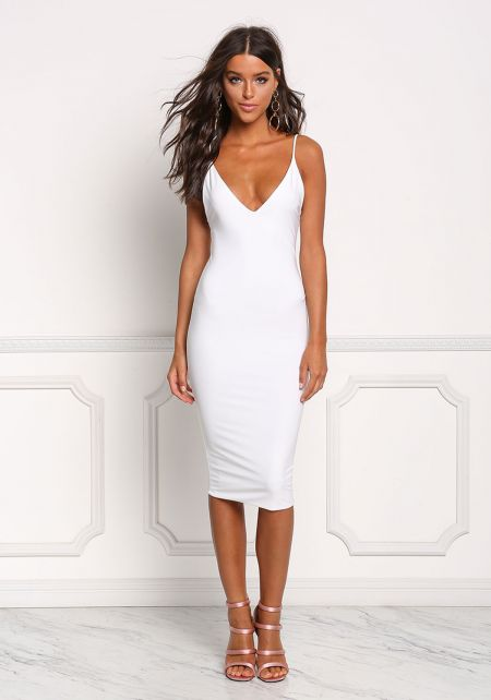 White Deep V Sleek Bodycon Dress