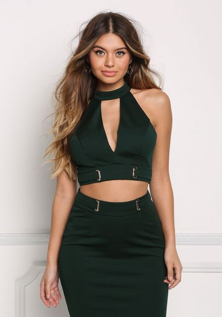 Hunter Green Cinched Low Cut Crop Top