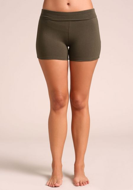 Dark Olive Jersey Knit Active Shorts