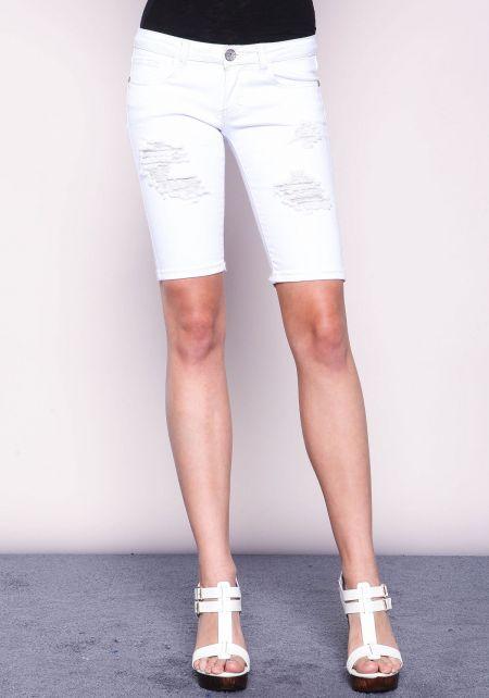 White Distressed Bermuda Shorts