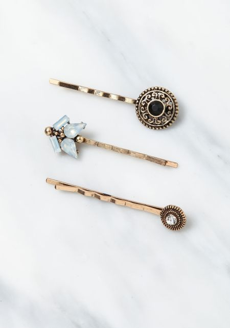 Gold Engraved Assorted Hair Pin Set