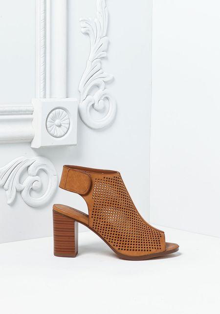 Tan Leatherette Laser Cut Back Strap Heels