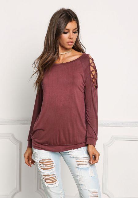 Mauve Shoulder Caged Sweater Top