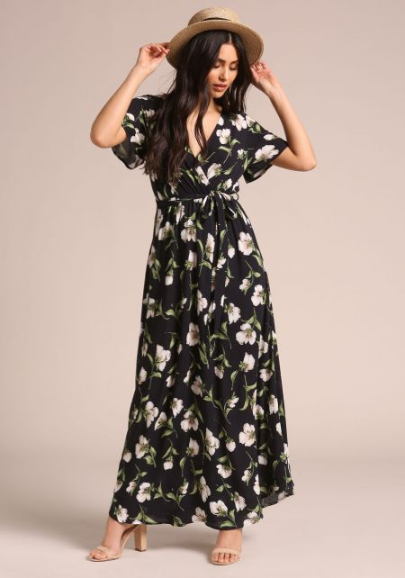 Navy Floral Faux Wrap Maxi Dress