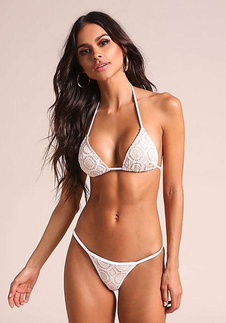 White & Nude Thin Strap Crochet Swimsuit Bikini Bo