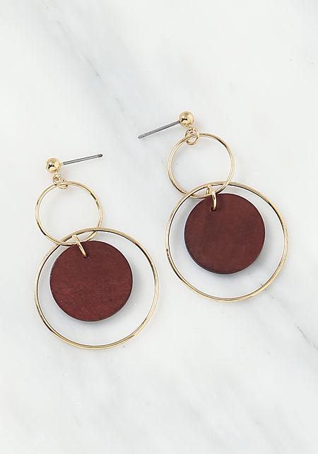 Brown Wooden Hoop Drop Earrings