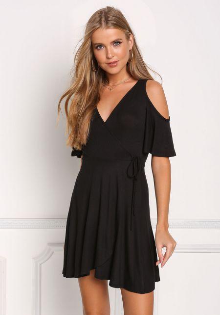 Black Cold Shoulder Ribbed Knit Faux Wrap Dress
