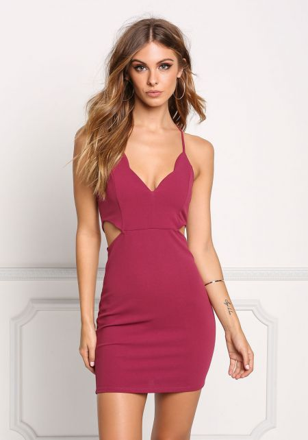 Berry Side Cut Out Cross Strap Bodycon Dress