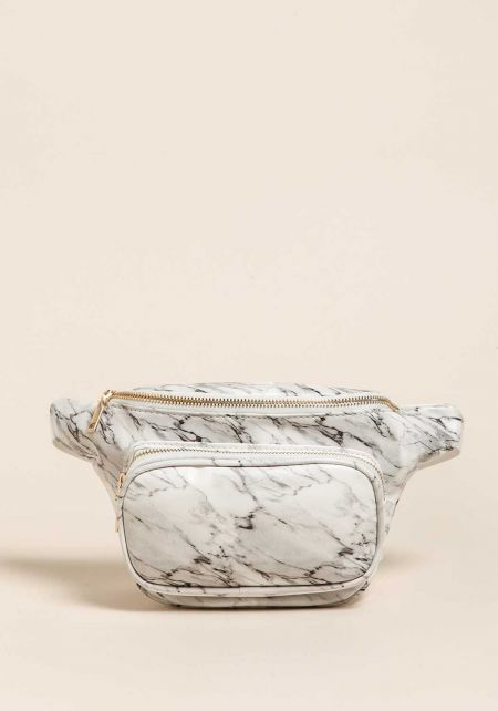 White Marble Leatherette Fanny Pack