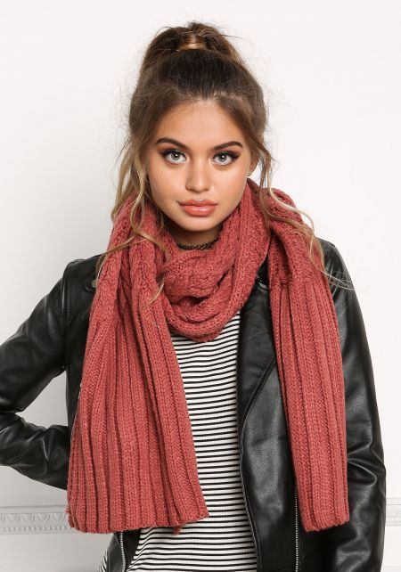 Rust Chunky Knit Scarf