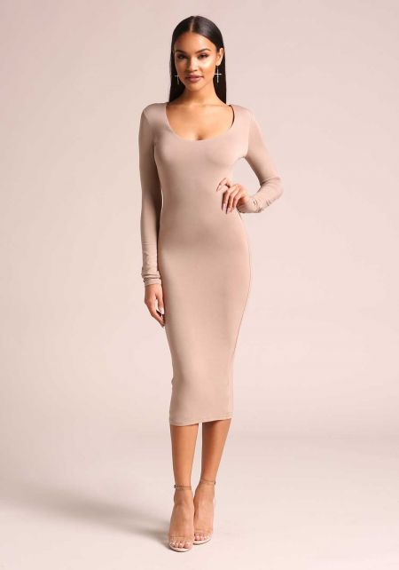 Mocha Jersey Knit Bodycon Dress