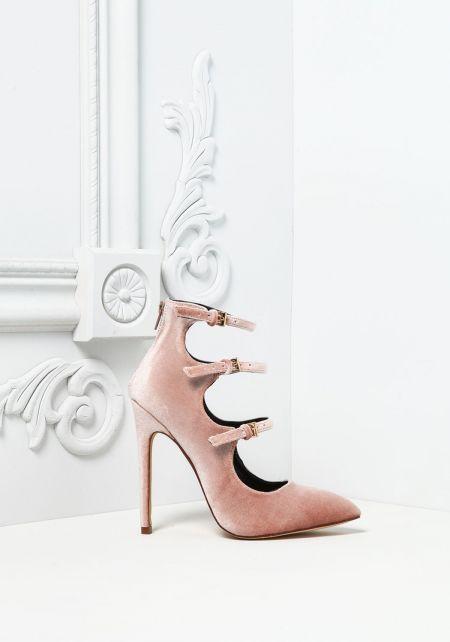 Blush Three Strap Velvet Pointed Toe Heels
