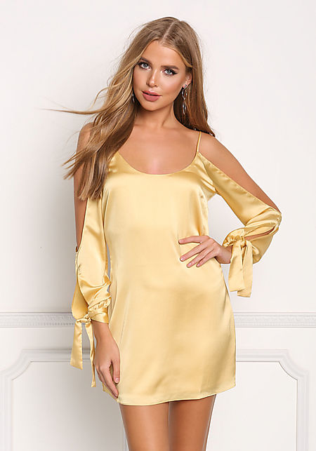 Light Yellow Silky Sleeve Cut Out Shift Dress