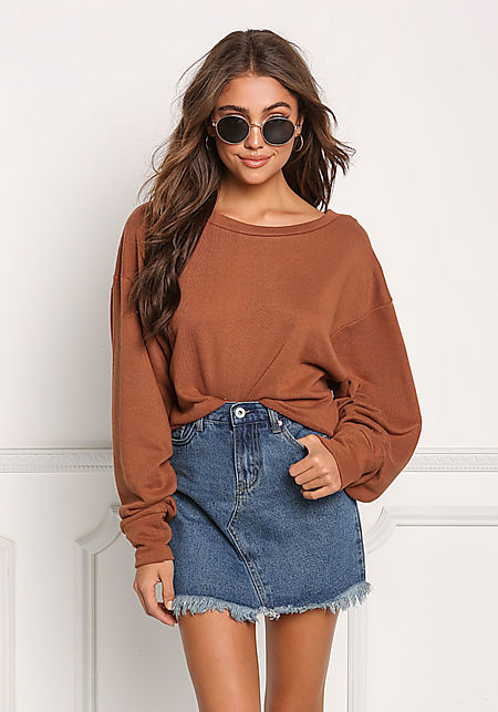 Camel Wide Sleeve Pullover Sweater