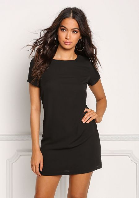 Black Boxy Shift Dress