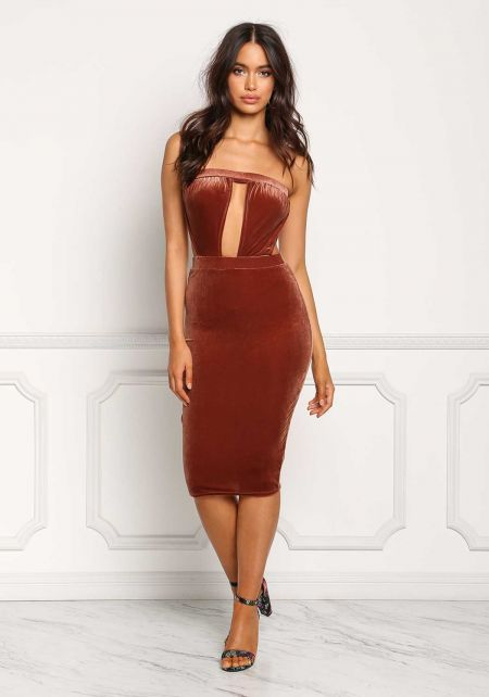 Rust Velvet Plunge Cut Out Strapless Bodycon Dress