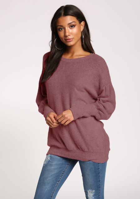 Burgundy Puff Sleeve Pullover Sweater Top