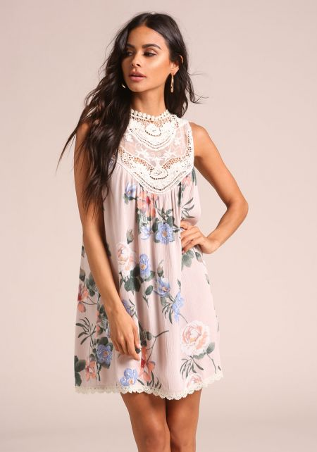 Blush Floral Crepe Embroidered Shift Dress
