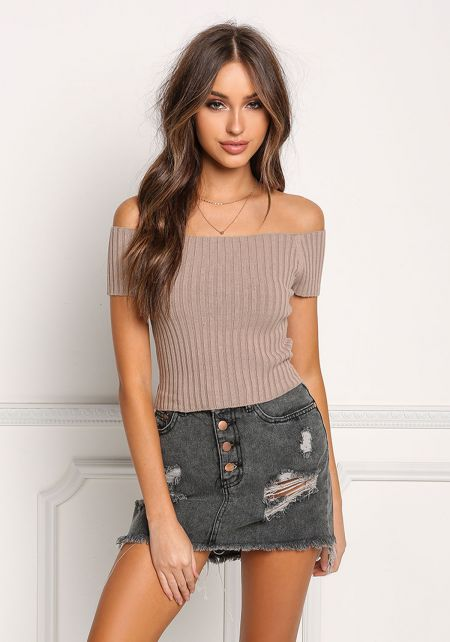Mocha Off Shoulder Ribbed Knit Crop Top