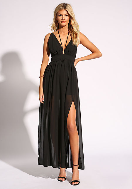 Black Cross Strap Two Slit Maxi Dress