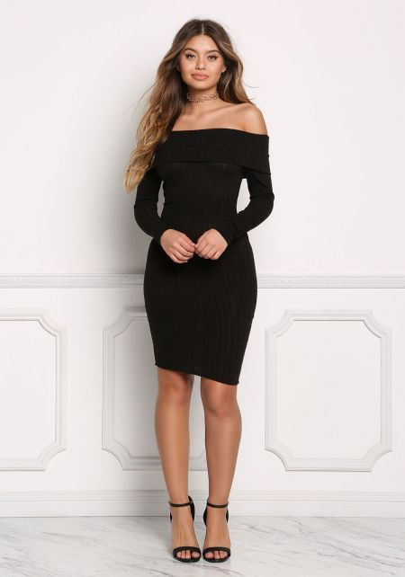 Black Off Shoulder Fold Over Bodycon Dress