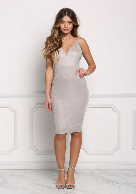 Champagne Plunge Shimmer Bodycon Dress
