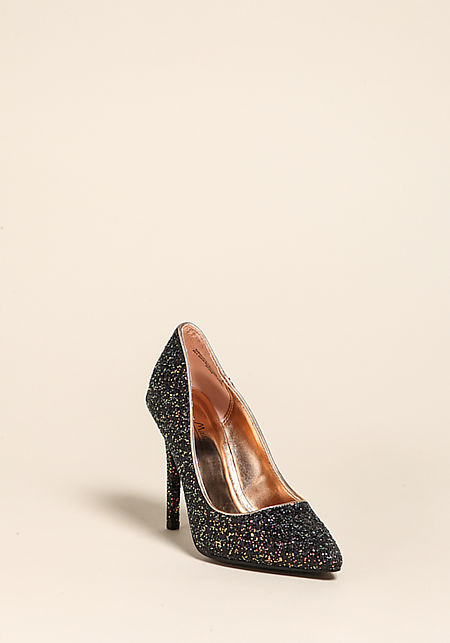 Black Glitter Pointed Toe Pump Heels