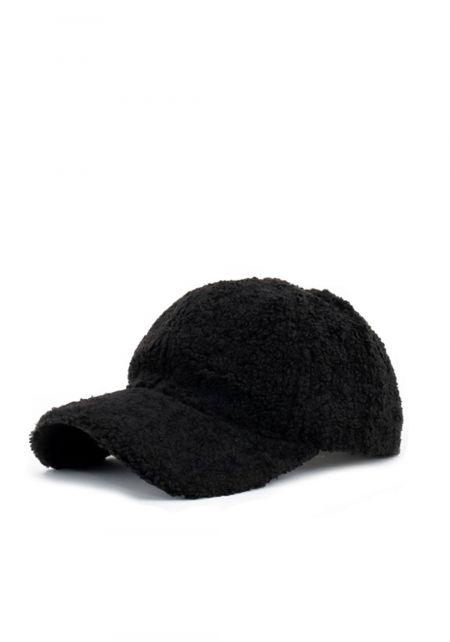 Black Faux Fur Dad Cap