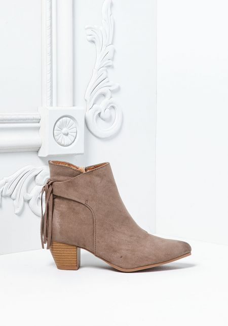 Taupe Pointed Toe Fringe Boots