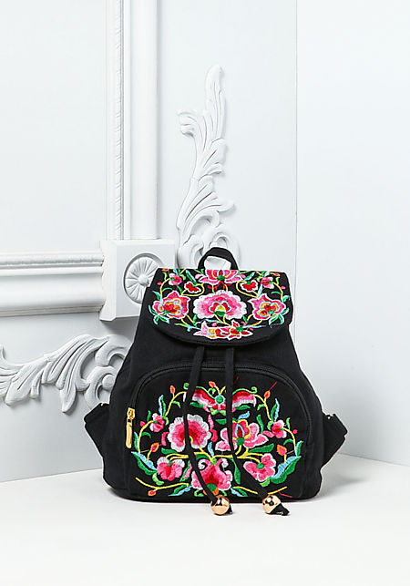 Black Floral Embroidered Backpack