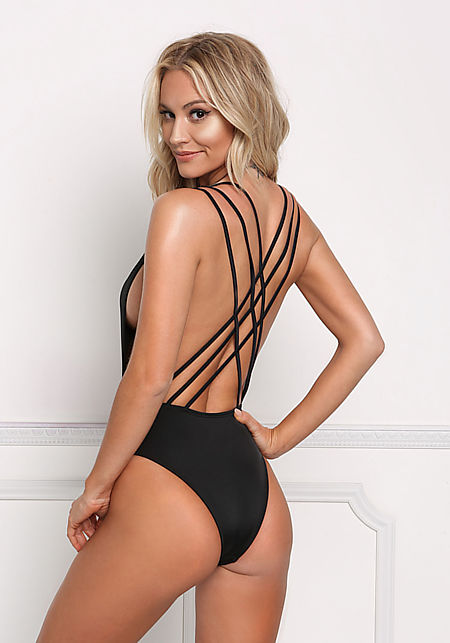 Black Multi Strap Back Swimsuit Monokini