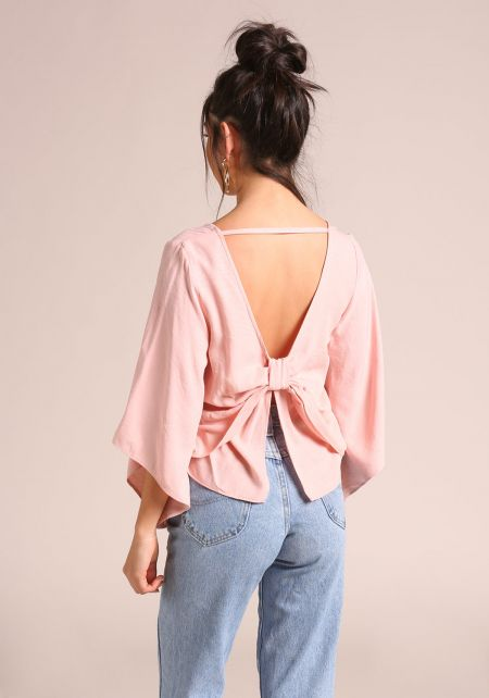 Dusty Rose Bow Back Bell Sleeve Blouse