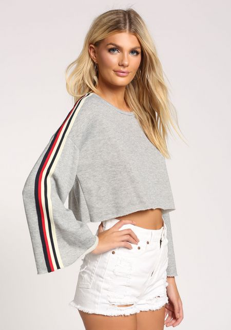 Heather Grey Bell Sleeve Cropped Sweater Top