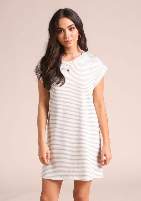 Grey Stripe Cap Sleeve Shift Dress