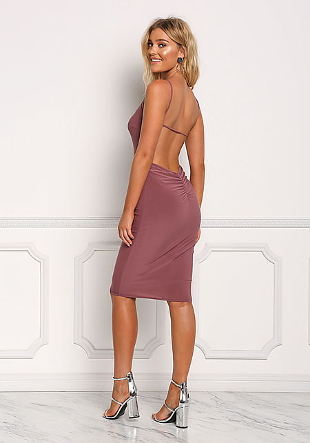 Mauve Low Back Ruched Bodycon Dress