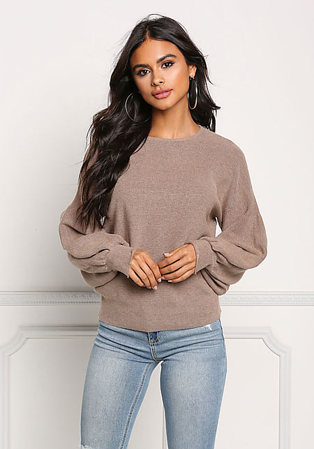 Brown Ribbed Knit Puffy Sleeve Sweater Top