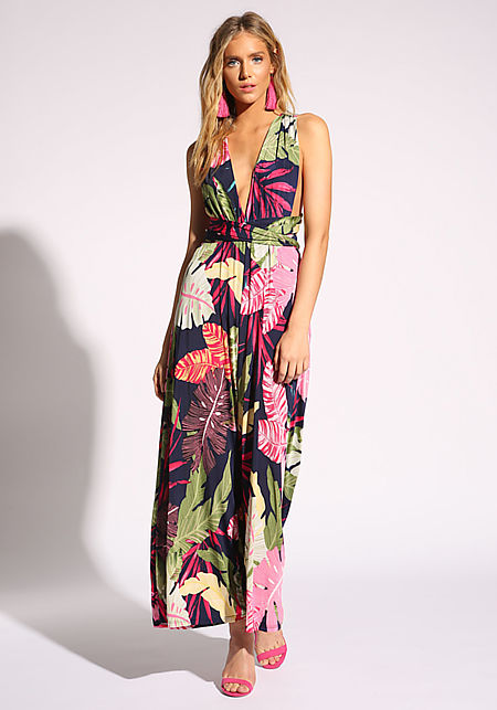 Navy Tropical Magic Tie Jumpsuit