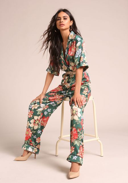 Green Satin Floral Collared Pocket Jumpsuit