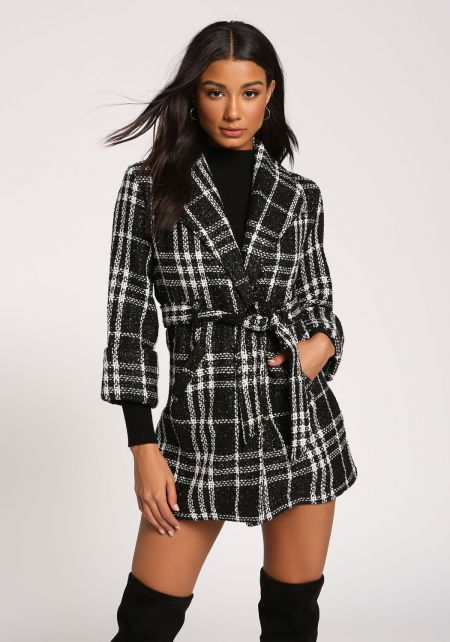 Black and White Tweed Plaid Waist Tie Coat