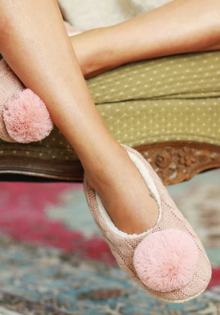 Mauve Cable Knit Pom Pom Sock Slippers