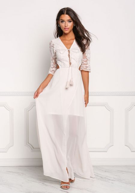 Cream Plunge Cut Out Lace Up Maxi Gown